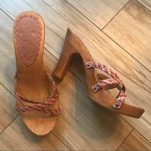 Two Lips wooden heels